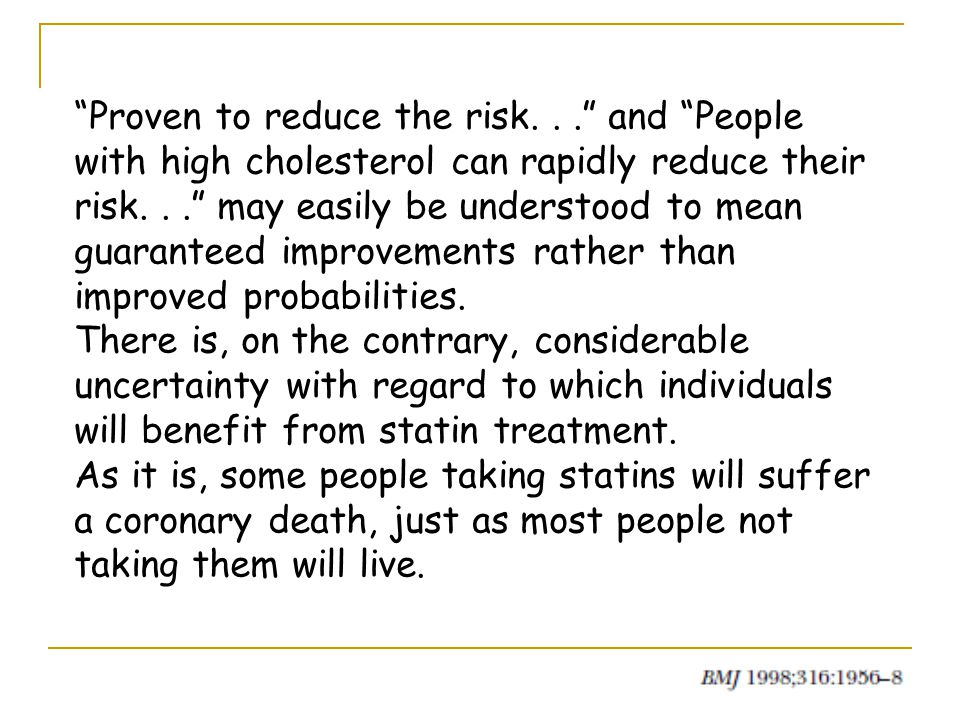 Proven to reduce the risk... and People with high cholesterol can rapidly reduce their risk... may easily be understood to mean guaranteed improvements rather than improved probabilities.