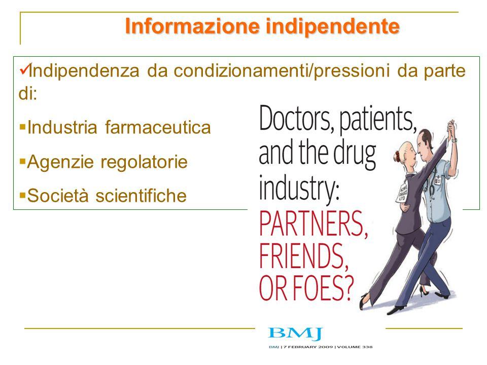 Informazione indipendente Indipendenza da condizionamenti/pressioni da parte di:  Industria farmaceutica  Agenzie regolatorie  Società scientifiche