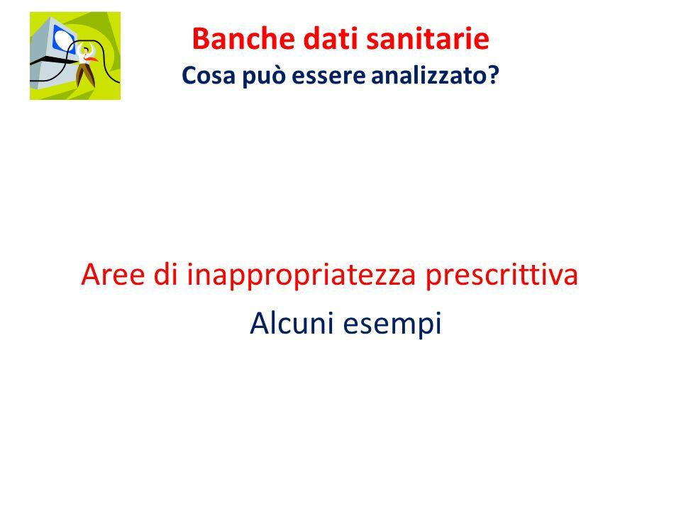 Aree di inappropriatezza prescrittiva Alcuni esempi Banche dati sanitarie Cosa può essere analizzato
