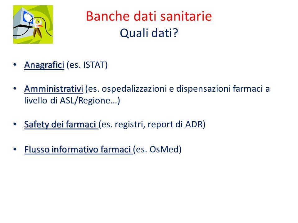 Banche dati sanitarie Quali dati. Anagrafici Anagrafici (es.