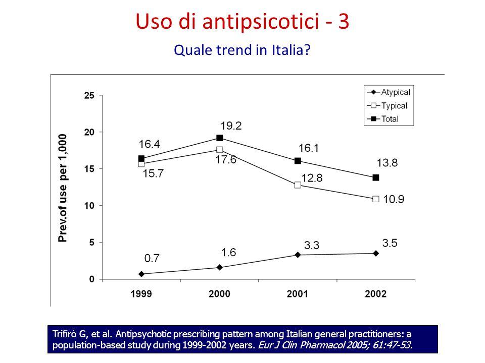 Uso di antipsicotici - 3 Quale trend in Italia. Trifirò G, et al.