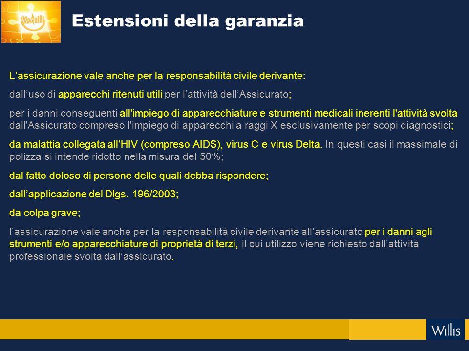 L'assicurazione vale anche per la responsabilità civile derivante: dall'uso di apparecchi ritenuti utili per l'attività dell'Assicurato; per i danni c