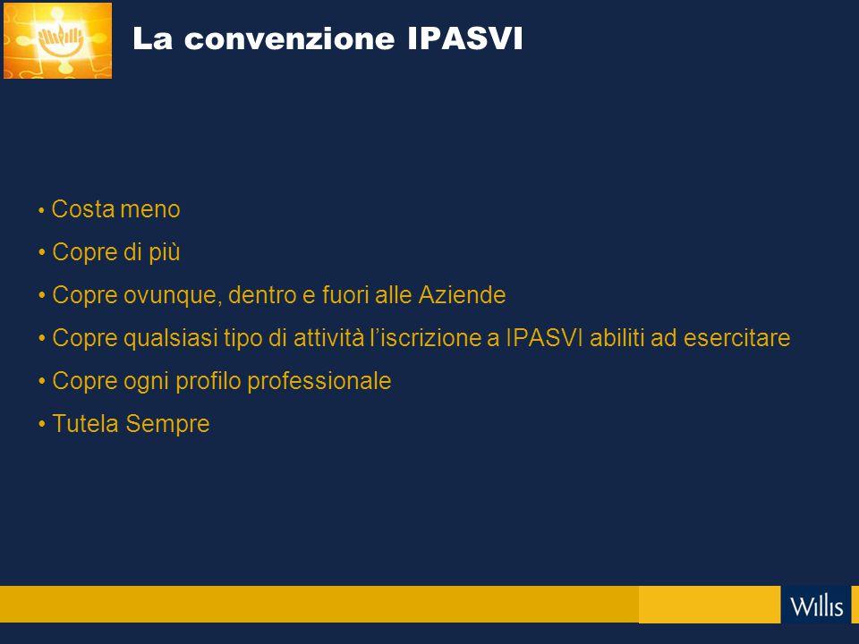 Costa meno Copre di più Copre ovunque, dentro e fuori alle Aziende Copre qualsiasi tipo di attività l'iscrizione a IPASVI abiliti ad esercitare Copre