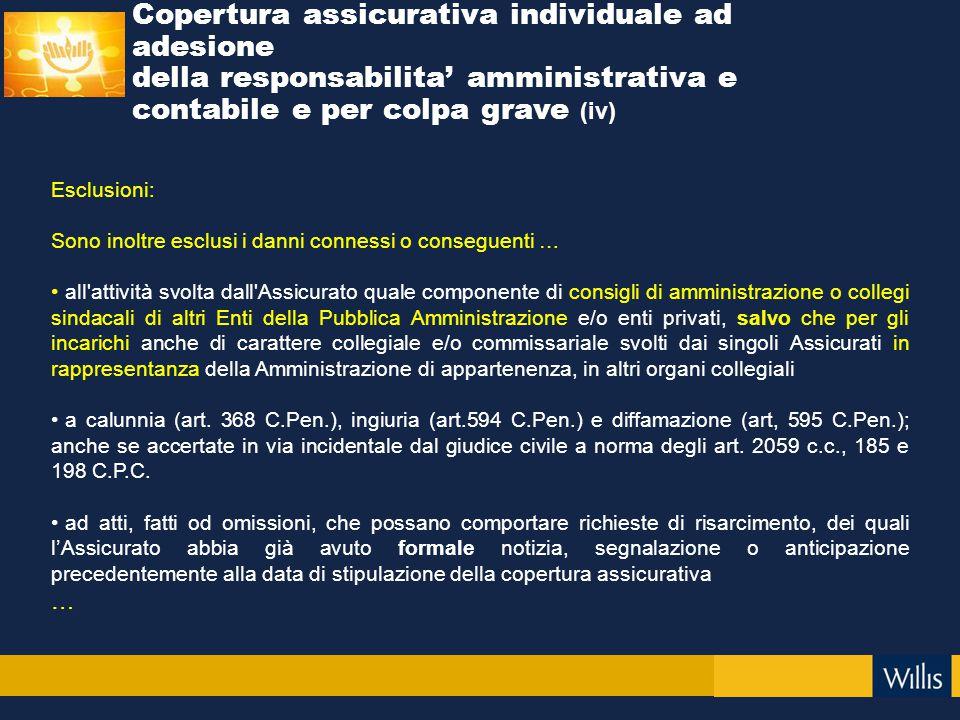 Esclusioni: Sono inoltre esclusi i danni connessi o conseguenti … all'attività svolta dall'Assicurato quale componente di consigli di amministrazione
