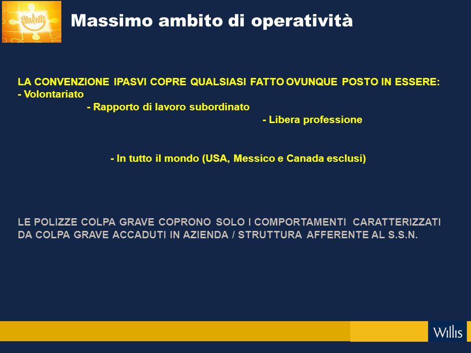 Massimo ambito di operatività LA CONVENZIONE IPASVI COPRE QUALSIASI FATTO OVUNQUE POSTO IN ESSERE: - Volontariato - Rapporto di lavoro subordinato - L
