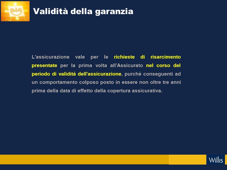 Validità della garanzia L'assicurazione vale per le richieste di risarcimento presentate per la prima volta all'Assicurato nel corso del periodo di va