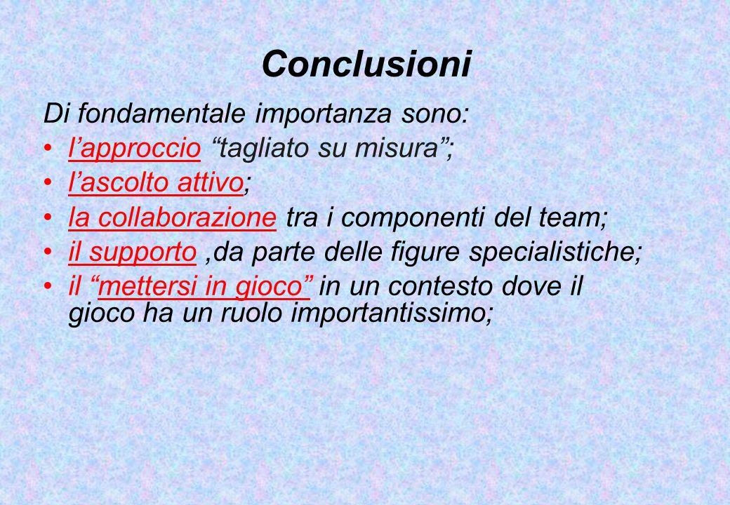 """Conclusioni Di fondamentale importanza sono: l'approccio """"tagliato su misura""""; l'ascolto attivo; la collaborazione tra i componenti del team; il suppo"""