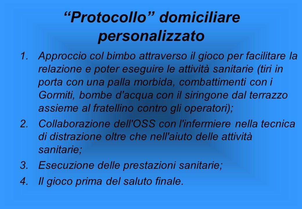"""""""Protocollo"""" domiciliare personalizzato 1.Approccio col bimbo attraverso il gioco per facilitare la relazione e poter eseguire le attività sanitarie ("""