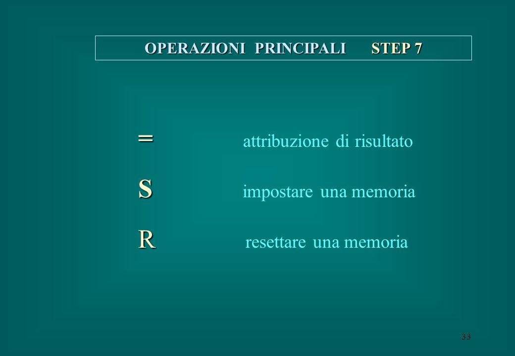 33 OPERAZIONI PRINCIPALI STEP 7 = = attribuzione di risultato S S impostare una memoria R R resettare una memoria