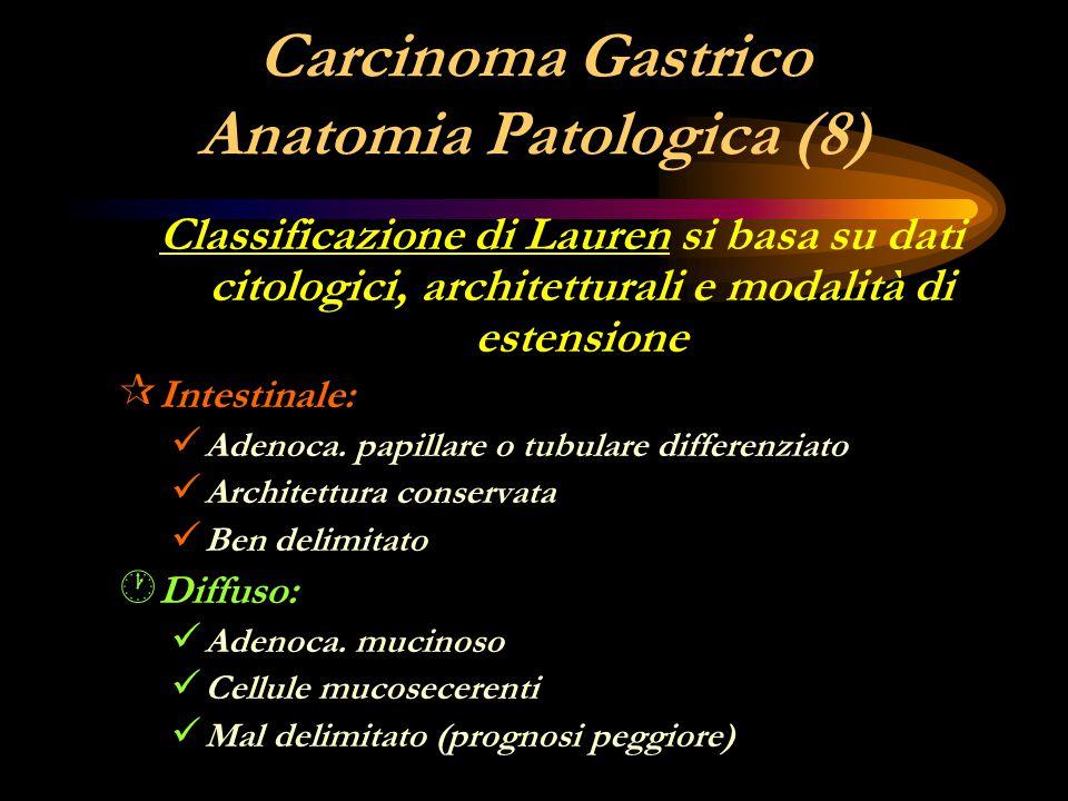 Carcinoma Gastrico Anatomia Patologica (8) Classificazione di Lauren si basa su dati citologici, architetturali e modalità di estensione ¶ Intestinale