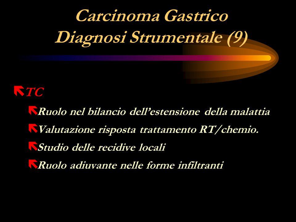 Carcinoma Gastrico Diagnosi Strumentale (9) ë TC ë Ruolo nel bilancio dell'estensione della malattia ë Valutazione risposta trattamento RT/chemio. ë S