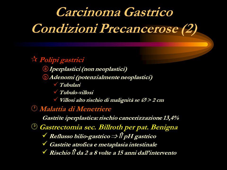 Carcinoma Gastrico Condizioni Precancerose (2) ¶ Polipi gastrici ⓐ Iperplastici (non neoplastici) ⓑ Adenomi (potenzialmente neoplastici) Tubulari Tubu