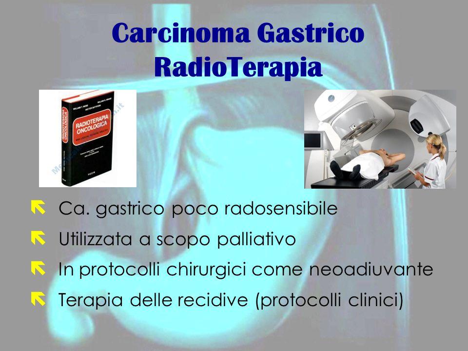 Carcinoma Gastrico RadioTerapia ë Ca. gastrico poco radosensibile ë Utilizzata a scopo palliativo ë In protocolli chirurgici come neoadiuvante ë Terap