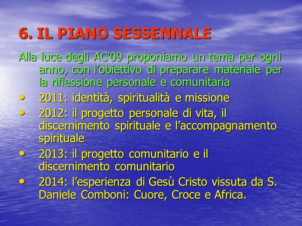 6. IL PIANO SESSENNALE Alla luce degli AC'09 proponiamo un tema per ogni anno, con l'obiettivo di preparare materiale per la riflessione personale e c