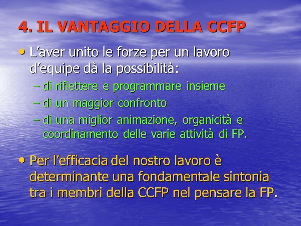 4. IL VANTAGGIO DELLA CCFP L'aver unito le forze per un lavoro d'equipe dà la possibilità: L'aver unito le forze per un lavoro d'equipe dà la possibil