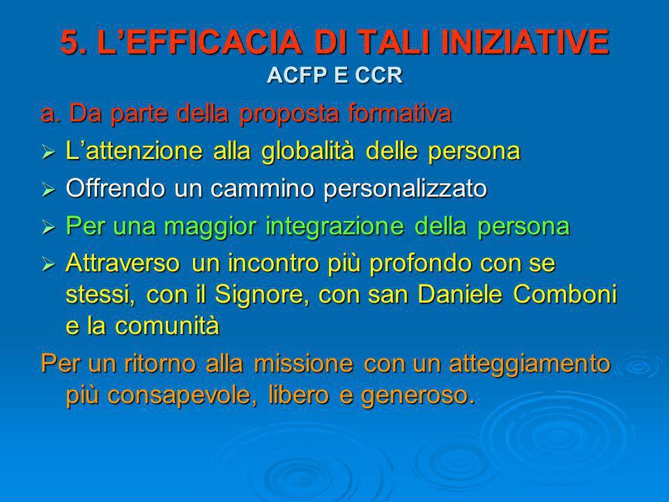 5. L'EFFICACIA DI TALI INIZIATIVE ACFP E CCR a.