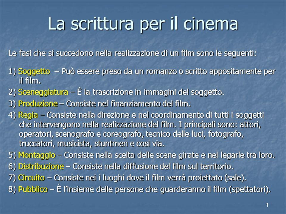 1 La scrittura per il cinema Le fasi che si succedono nella realizzazione di un film sono le seguenti: 1) Soggetto – Può essere preso da un romanzo o