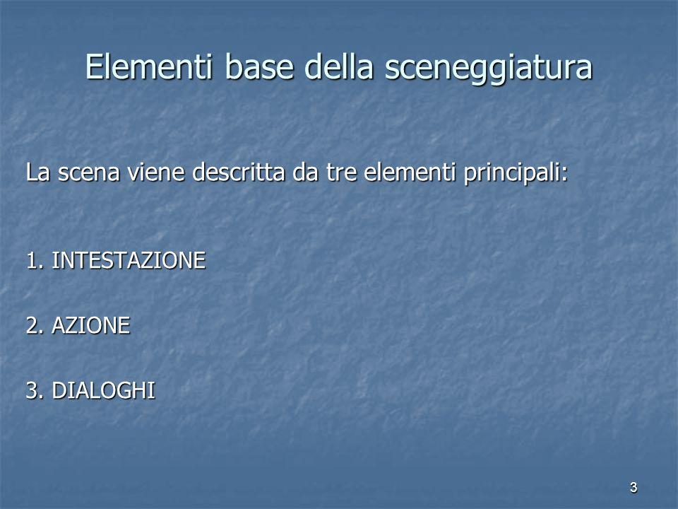 3 Elementi base della sceneggiatura La scena viene descritta da tre elementi principali: 1. INTESTAZIONE 2. AZIONE 3. DIALOGHI