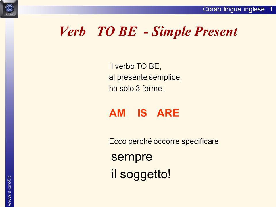 Corso lingua inglese 1 Verb TO BE - Simple Present Il verbo TO BE, al presente semplice, ha solo 3 forme: AM IS ARE Ecco perché occorre specificare sempre il soggetto!