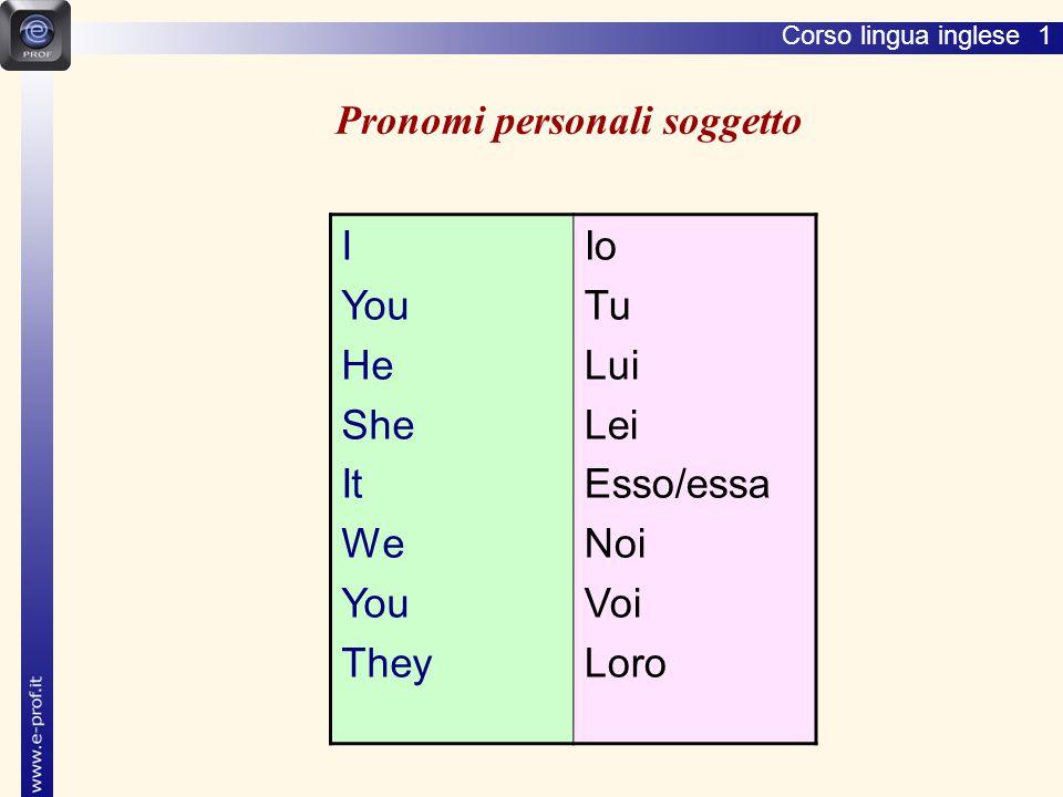 Corso lingua inglese 1 Pronomi personali soggetto I You He She It We You They Io Tu Lui Lei Esso/essa Noi Voi Loro