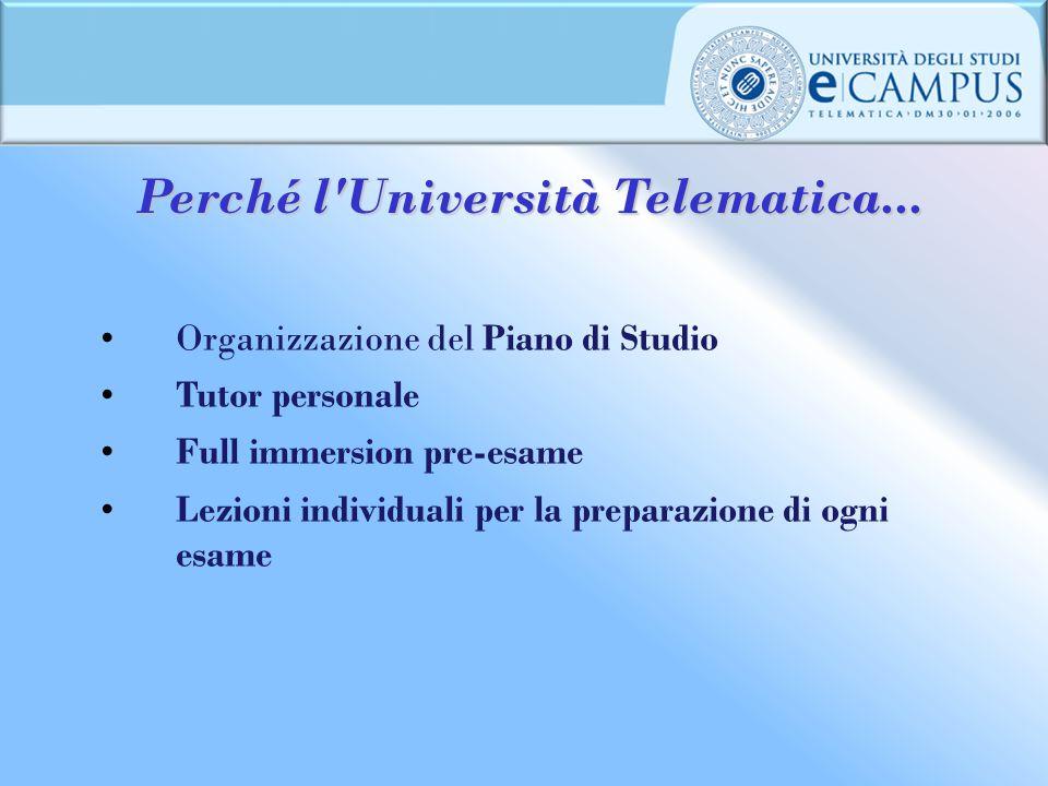 Perché l'Università Telematica... Organizzazione del Piano di Studio Tutor personale Full immersion pre-esame Lezioni individuali per la preparazione