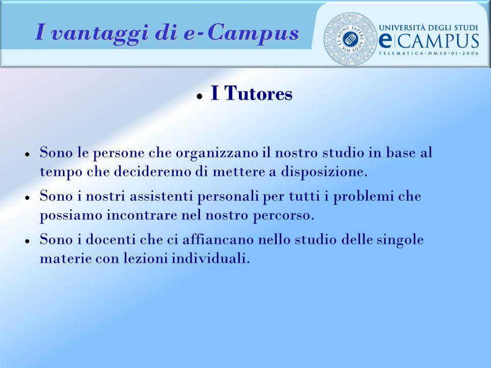 I vantaggi di e-Campus I Tutores Sono le persone che organizzano il nostro studio in base al tempo che decideremo di mettere a disposizione. Sono i no