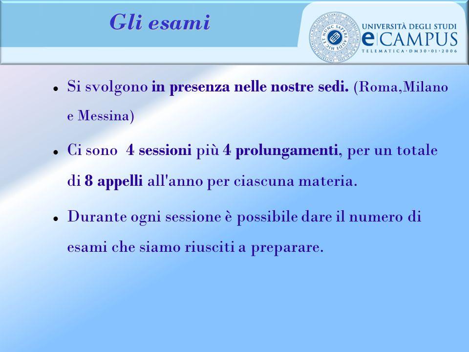 Gli esami Si svolgono in presenza nelle nostre sedi. (Roma,Milano e Messina) Ci sono 4 sessioni più 4 prolungamenti, per un totale di 8 appelli all'an