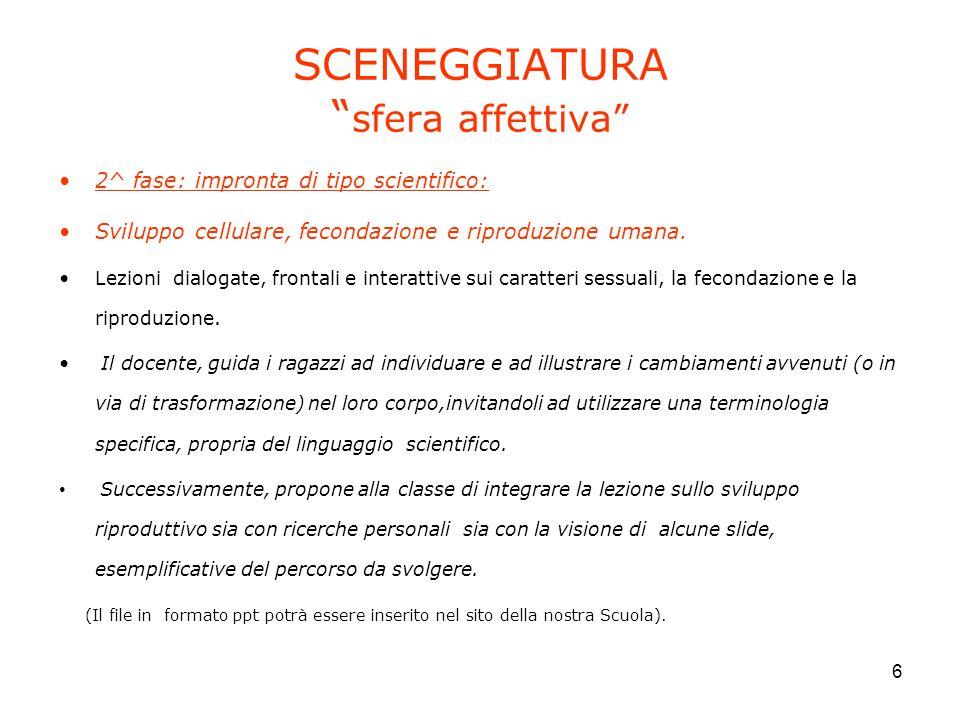 """6 SCENEGGIATURA """" sfera affettiva"""" 2^ fase: impronta di tipo scientifico: Sviluppo cellulare, fecondazione e riproduzione umana. Lezioni dialogate, fr"""