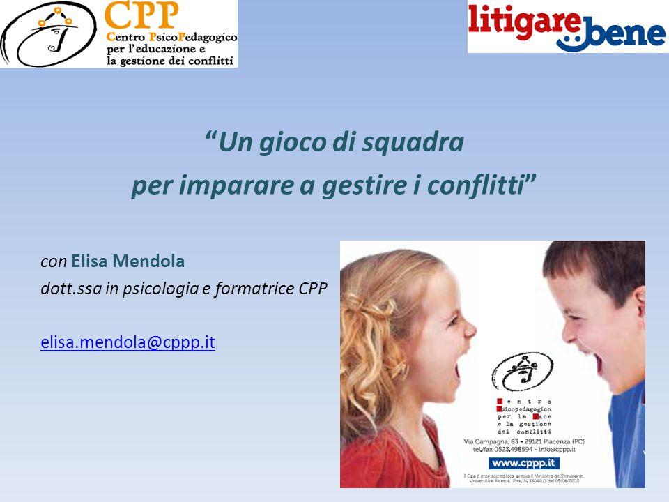 """""""Un gioco di squadra per imparare a gestire i conflitti"""" con Elisa Mendola dott.ssa in psicologia e formatrice CPP elisa.mendola@cppp.it"""