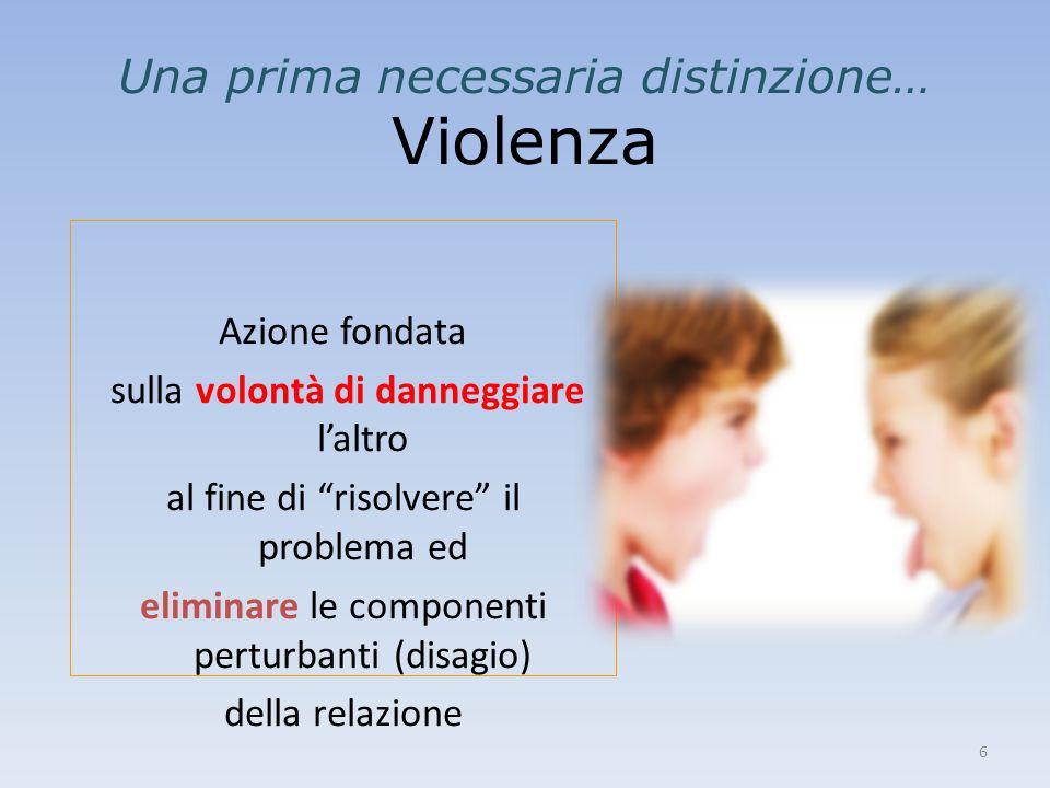 """6 Una prima necessaria distinzione… Violenza Azione fondata sulla volontà di danneggiare l'altro al fine di """"risolvere"""" il problema ed eliminare le co"""