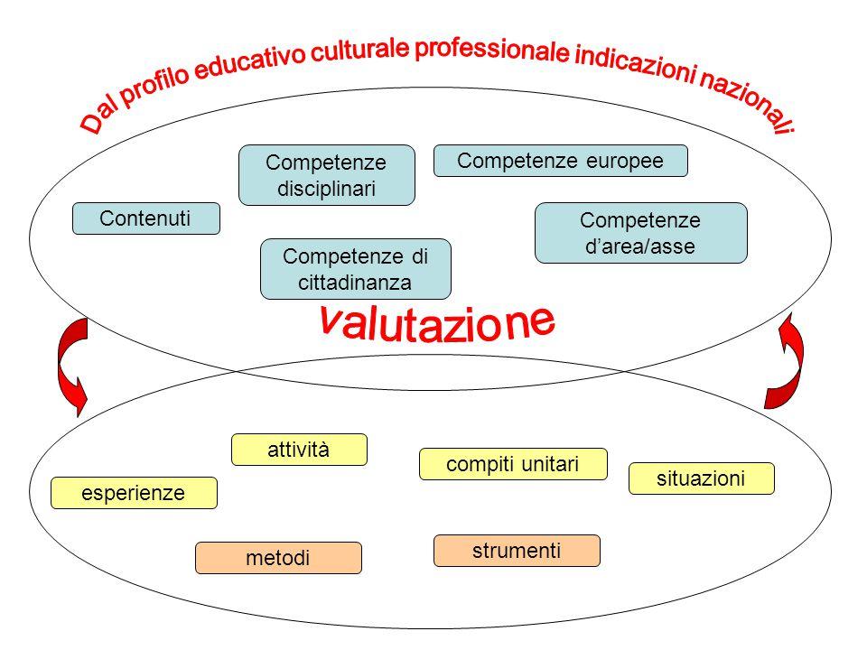 Contenuti Competenze disciplinari Competenze europee Competenze di cittadinanza Competenze d'area/asse attività esperienze compiti unitari situazioni