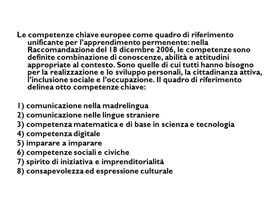 Le competenze chiave europee come quadro di riferimento unificante per l'apprendimento permenente: nella Raccomandazione del 18 dicembre 2006, le competenze sono definite combinazione di conoscenze, abilità e attitudini appropriate al contesto.