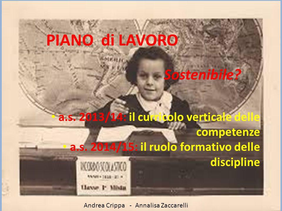PIANO di LAVORO Sostenibile? a.s. 2013/14: il curricolo verticale delle competenze a.s. 2014/15: il ruolo formativo delle discipline Andrea Crippa - A