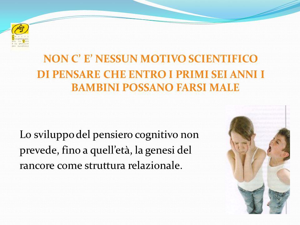 NON C' E' NESSUN MOTIVO SCIENTIFICO DI PENSARE CHE ENTRO I PRIMI SEI ANNI I BAMBINI POSSANO FARSI MALE Lo sviluppo del pensiero cognitivo non prevede,
