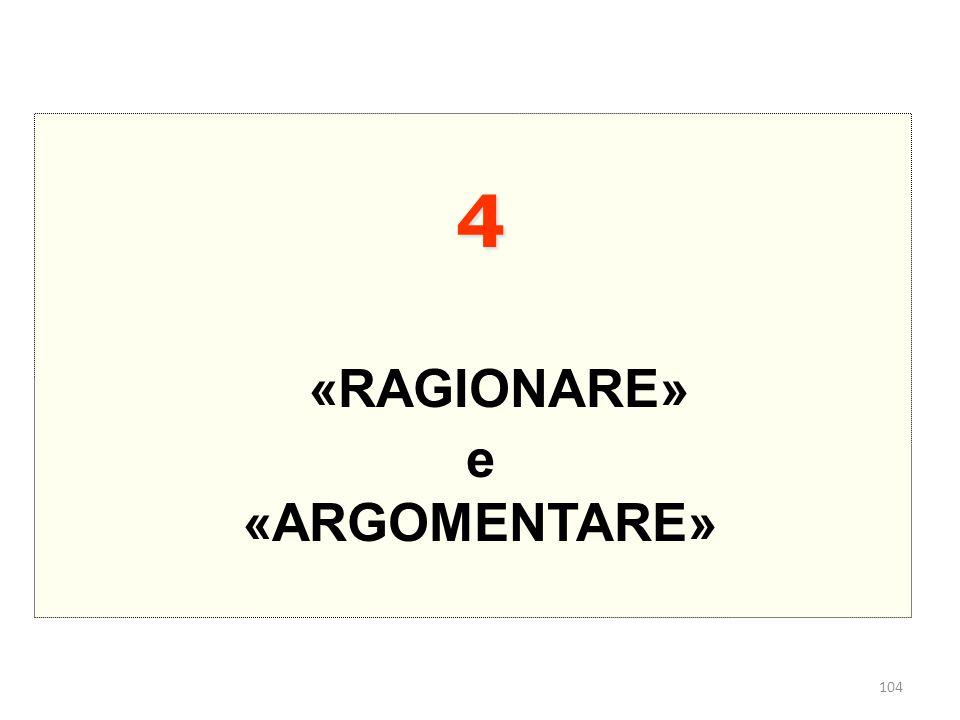 104 4 «RAGIONARE» e «ARGOMENTARE»