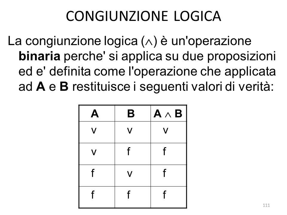 111 CONGIUNZIONE LOGICA La congiunzione logica (  ) è un'operazione binaria perche' si applica su due proposizioni ed e' definita come l'operazione c