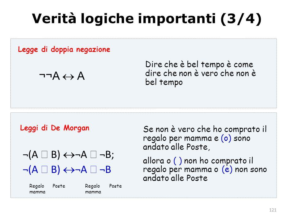 121 Verità logiche importanti (3/4) ¬¬A  A ¬(A  B)  ¬A  ¬B; ¬(A  B)  ¬A  ¬B Dire che è bel tempo è come dire che non è vero che non è bel