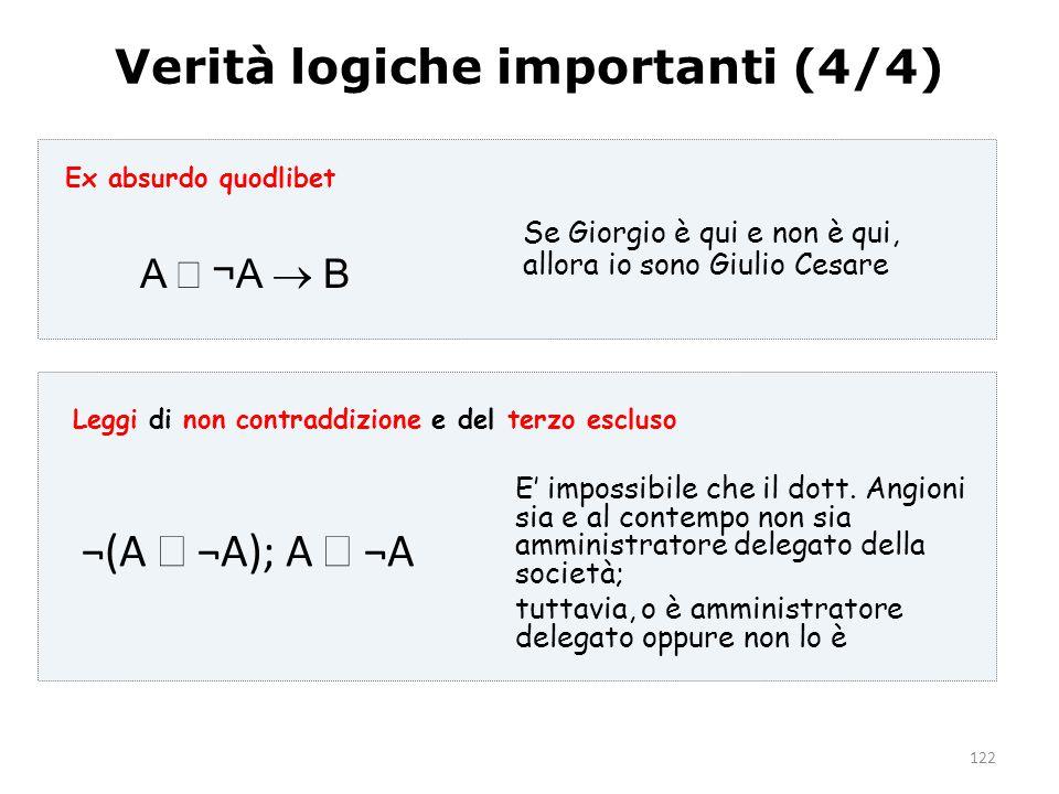 122 Verità logiche importanti (4/4) A  ¬A  B Se Giorgio è qui e non è qui, allora io sono Giulio Cesare E' impossibile che il dott. Angioni sia e