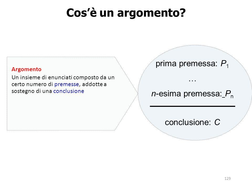 129 Cos'è un argomento? prima premessa: P 1 … n-esima premessa: P n conclusione: C Argomento Un insieme di enunciati composto da un certo numero di pr