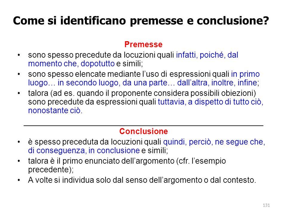 131 Come si identificano premesse e conclusione? Premesse sono spesso precedute da locuzioni quali infatti, poiché, dal momento che, dopotutto e simil