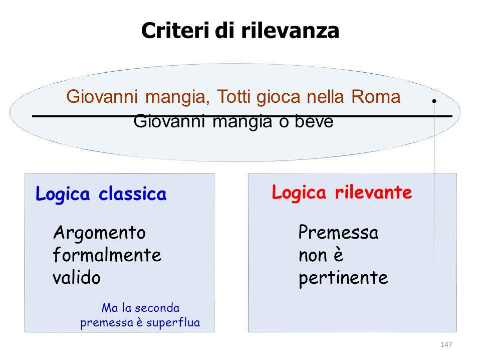 147 Criteri di rilevanza Giovanni mangia, Totti gioca nella Roma Giovanni mangia o beve Logica classica Logica rilevante Argomento formalmente valido