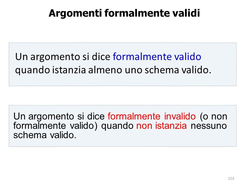 154 Argomenti formalmente validi Un argomento si dice formalmente invalido (o non formalmente valido) quando non istanzia nessuno schema valido. Un ar