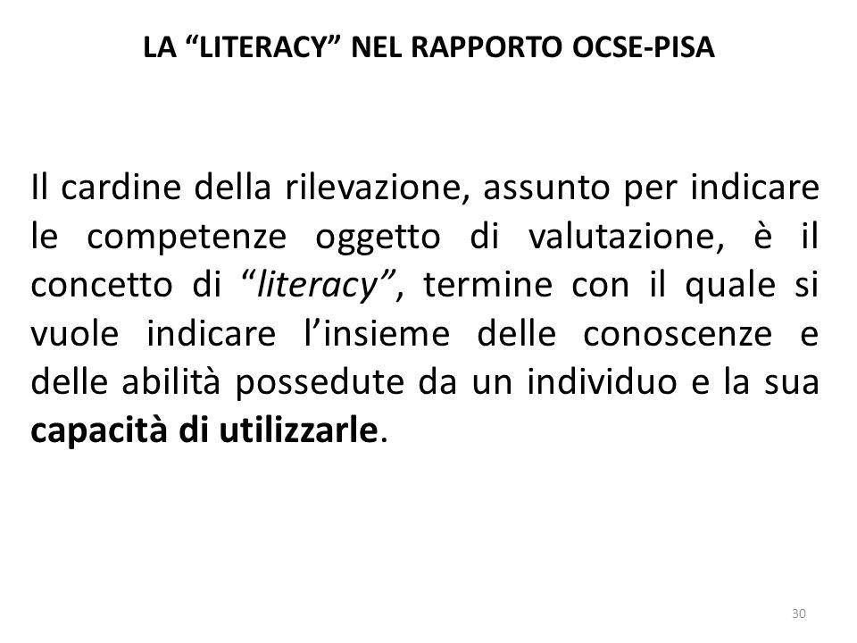 """30 LA """"LITERACY"""" NEL RAPPORTO OCSE-PISA Il cardine della rilevazione, assunto per indicare le competenze oggetto di valutazione, è il concetto di """"lit"""