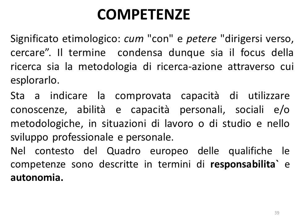39 COMPETENZE Sta a indicare la comprovata capacità di utilizzare conoscenze, abilità e capacità personali, sociali e/o metodologiche, in situazioni d