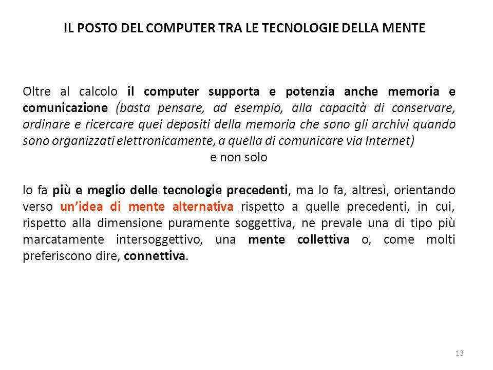 13 IL POSTO DEL COMPUTER TRA LE TECNOLOGIE DELLA MENTE Oltre al calcolo il computer supporta e potenzia anche memoria e comunicazione (basta pensare,
