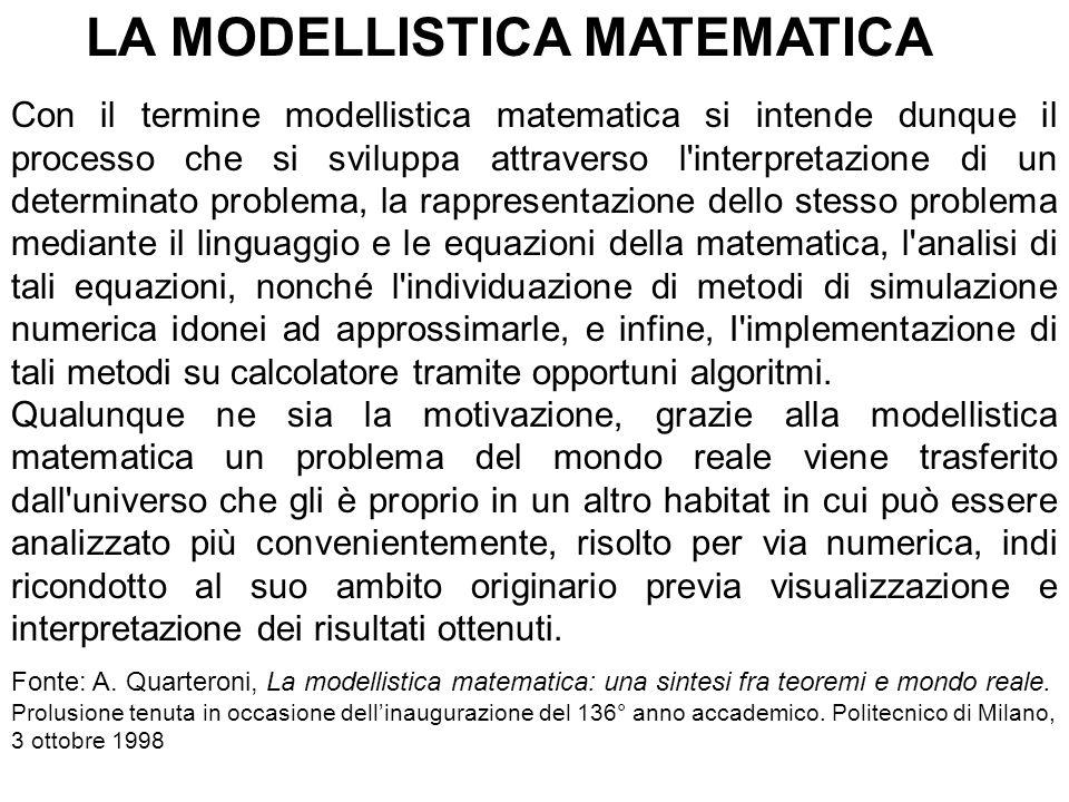 LA MODELLISTICA MATEMATICA Con il termine modellistica matematica si intende dunque il processo che si sviluppa attraverso l interpretazione di un determinato problema, la rappresentazione dello stesso problema mediante il linguaggio e le equazioni della matematica, l analisi di tali equazioni, nonché l individuazione di metodi di simulazione numerica idonei ad approssimarle, e infine, I implementazione di tali metodi su calcolatore tramite opportuni algoritmi.