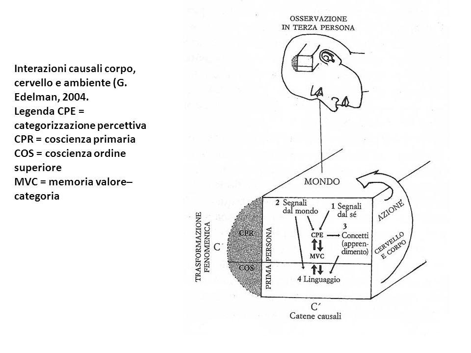 Interazioni causali corpo, cervello e ambiente (G. Edelman, 2004. Legenda CPE = categorizzazione percettiva CPR = coscienza primaria COS = coscienza o