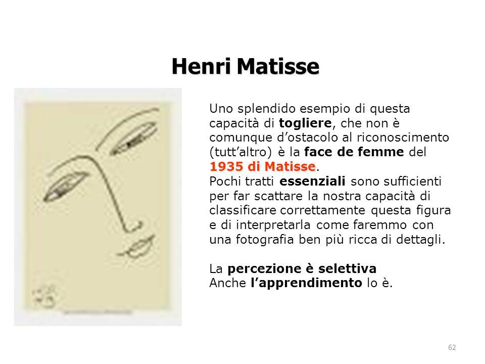 62 1935 di Matisse Uno splendido esempio di questa capacità di togliere, che non è comunque d'ostacolo al riconoscimento (tutt'altro) è la face de femme del 1935 di Matisse.
