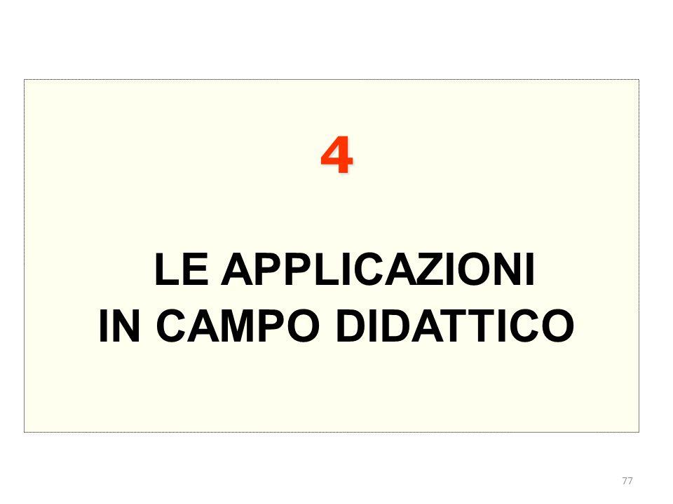 77 4 LE APPLICAZIONI IN CAMPO DIDATTICO