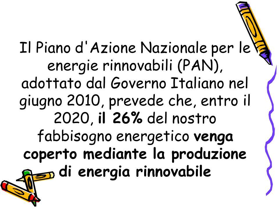 Il Piano d Azione Nazionale per le energie rinnovabili (PAN), adottato dal Governo Italiano nel giugno 2010, prevede che, entro il 2020, il 26% del nostro fabbisogno energetico venga coperto mediante la produzione di energia rinnovabile